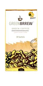 Greenbrrew Lemon Instant Green Coffee 20 Sachets, 60 Gm