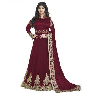 Bollywood replica anarkali suits and salwar kameez - Bollywood replica Party Wear Aisha Takiya New Colletion Of Maroon Anarkali Georgette Suit-116F4F13DM