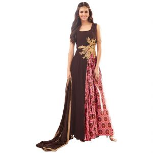 Bolllywood Replica Party Wear Graceful Brown Georgette And Net Partywear Anarkali Suit 125f4f02dm