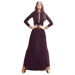 Bollywood Replica Party Wear Graceful Brown Georgette And Net Partywear Anarkali Suit- 125f4f04dm