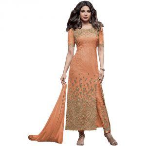 Bollywood replica anarkali suits and salwar kameez - BollyWood Designer Very Attractive Priyanka Chopra ORANGE Embroidered Straight Cut Salwar Kameez.-127F4F02DM
