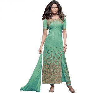 Bollywood replica anarkali suits and salwar kameez - BollyWood Replica Designer Very Attractive Priyanka Chopra GREEN Embroidered Straight Cut Salwar Kameez.- 127F4F04DM