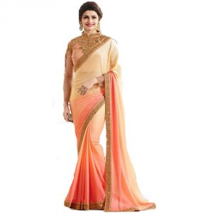 Bollywood replica sarees and lehengas - Bollywood Replica Prachi Desai Georgette Border Work Cream & Orange Plain Saree - (code-134F4F05DM)