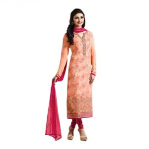Bollywood Replica Party Wear Prachi Desai Orange Georgette Straight Semi-stitched Suit - (code-149f4f06dm)