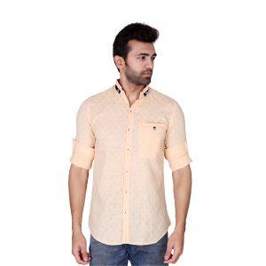 Mercury Men's Wear - Mercury Men's Checks Cotton Casual Orange Shirt J-569-A
