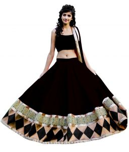 Chaniya, Ghagra Cholis - Pavitra Creation Deisgner Black Net Partywear Embroidered Semi-Stitched Lehenga-Unstitched Choli With Net Dupatta Black Baby