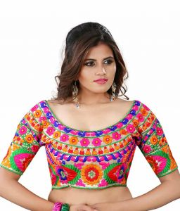 Designer Saree Blouses - Pavitra Creation Multi colored Designer Unstitched Dhupian Blouse With Kuch Embroidery And Mirror Work  Mirror Blouse1