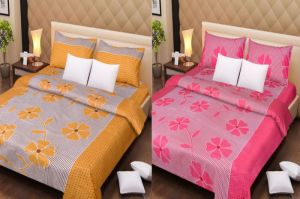 Handloomdaddy Cotton Pack Of 2 Designer Double Bedsheet With 4 Pillow Covers-design23
