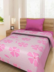 Latesthomestore 100% Cotton Pink Floral Prints 1 Single Bedsheet