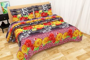 Shree Jee Combo Of 3d Polyester Double Bed-sheet (code - 3ddb1005)