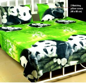 Shree Jee 3d Polyester Double Bedsheet With Two Pillow Covers (code - 3ddb07)