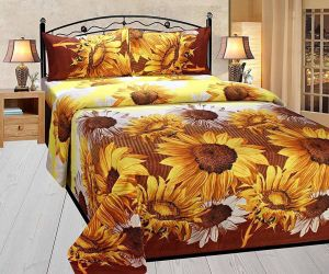 Shree Jee 3d Polyester Double Bedsheet With Two Pillow Covers (code - 3ddb08)