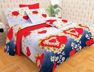 Shree Jee 3d Polyester Double Bedsheet With Two Pillow Covers (code - 3ddb10)