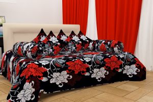 Shree Jee 3d Polyester Diwan Set With 1 Bedsheet,5 Cushions & 2 Bolsters (code - Dw3d1004)