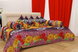 Diwan sets - Shree Jee 3D polyester Diwan Set with 1 Bedsheet, 5 Cushions & 2 Bolsters (Code - Dw3d1005)