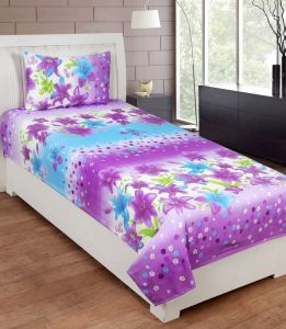 Bed Sheets - Zesture Polycotton 3d Printed Single Bedsheet With 1 Pillow Cover - Premiumpcs001