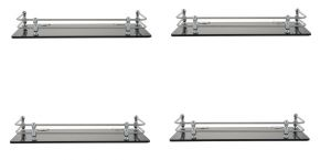 Horseway Black Acrylic And Stainless Steel Railing Wall Shelf - 15x5 Inch - Set Of 4