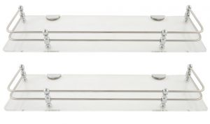 Horseway White (clear) Acrylic And Stainless Steel Railing Wall Shelf - 15x5 Inch- Set Of 2
