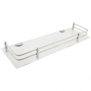 Horseway White (clear) Acrylic And Stainless Steel Railing Wall Shelf