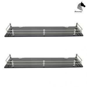 Horseway Black Acrylic And Stainless Steel Railing Wall Shelf - 18x5 Inch - Set Of 2