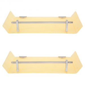 Bathroom shelves - Horseway Ivory Color Marble Designed Acrylic Wall Shelf - 12x5 Inch - Set of 2