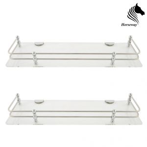 Horseway White (clear) Acrylic And Stainless Steel Railing Wall Shelf - 12x5 Inch - Set Of 2