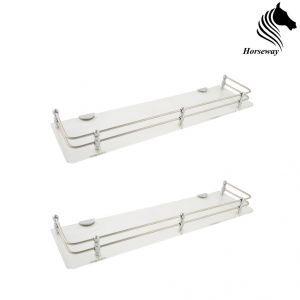 Bathroom Essentials - Horseway White (Clear) Acrylic and Stainless Steel Railing Wall Shelf - 18x5 Inch - Set of 2