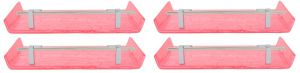 Horseway Pink Color Marble Designed Acrylic Wall Shelf - 12x5 Inch - Set Of 4