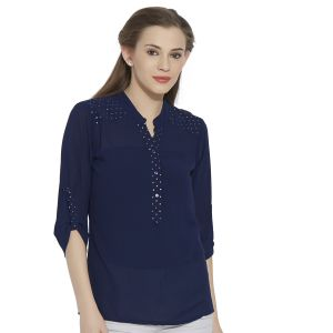 Tops & Tunics - VIRO 3/4th Sleeves Chinese Collar Georgette fabric Nacy Top for women-VI99332BNBLU