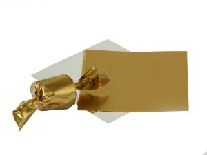 Gift wrap papers - Meena foil plain  Golden paper for chocolate & sweet wrapping pack of  300