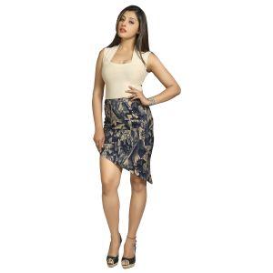 Blu Finch Women's Cotton Blue Printed Skirt 17SK11B