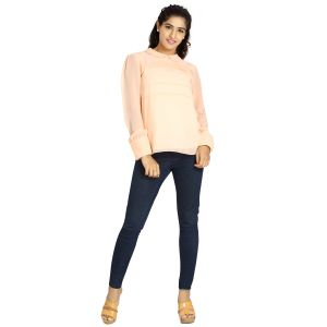Tops & Tunics - Blu Finch  Women's Georgette Pink Plain Top 45NT39P