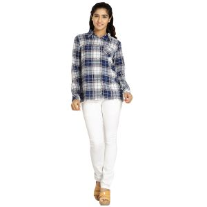 Shirts (Women's) - Blu Finch Women's Polyester Blue Checks Shirt 65NS59B