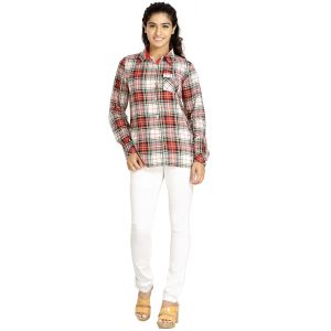 Shirts (Women's) - Blu Finch Women's Polyester Red Checks Shirt 66NS60R