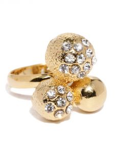 Tipsyfly Western Gold Ball Haathphool And Ring Set For Women-004hp