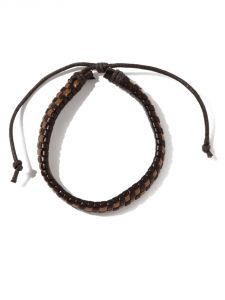 Tipsyfly Western Brown Checks Leather Bracelet For Men-025mob