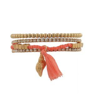 Bangles, Bracelets (Imititation) - Tipsyfly Pink color Fashion Beads Beach Bum Set for women (4 Bracelet)_078OB