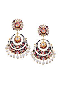 Tipsyfly Post & Back Closure Blue Alloy Chandbalis Earrings For Womens(code-1165e)