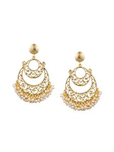 Tipsyfly Post & Back Closure Gold Alloy Chandbalis Earrings For Womens(code-1171e)