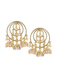 Tipsyfly Post & Back Closure Gold Alloy Jhumkas Earrings For Womens(code-1172e)