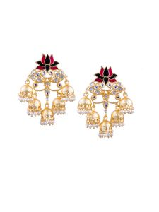 Tipsyfly Post & Back Closure Pink Alloy Jhumkas Earrings For Womens(code-1175e)