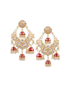 Tipsyfly Post & Back Closure Red Alloy Jhumkas Earrings For Womens(code-1184e)