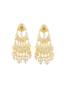 Tipsyfly Post & Back Closure Gold Alloy Chandbalis Earrings For Womens(code-1185e)