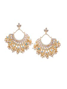 Tipsyfly Post & Back Closure Blue Alloy Chandbalis Earrings For Womens(code-1187e)