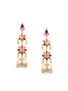Tipsyfly Post & Back Closure Pink Alloy Jhumkas Earrings For Womens(code-1188e)