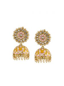 Tipsyfly Darling Post & Back Closure Metal Jhumkas Earrings For Womens(code-1239eylw)