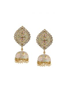Tipsyfly Pastel Perfect Post & Back Closure Metal Jhumkas Earrings For Womens(code-1242egry)
