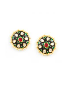 Tipsyfly Rajput Post & Back Closure Metal Studs Earrings For Womens(code-1256e)