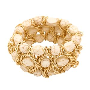 Tipsyfly Beige Color Fashion Beads How Lite Bead Bracelet For Women_130ob