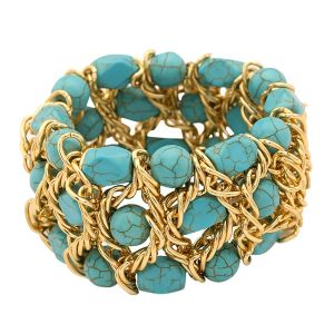 Tipsyfly Turquoise Color Fashion Beads Turquoise Bead Bracelet For Women_131OB